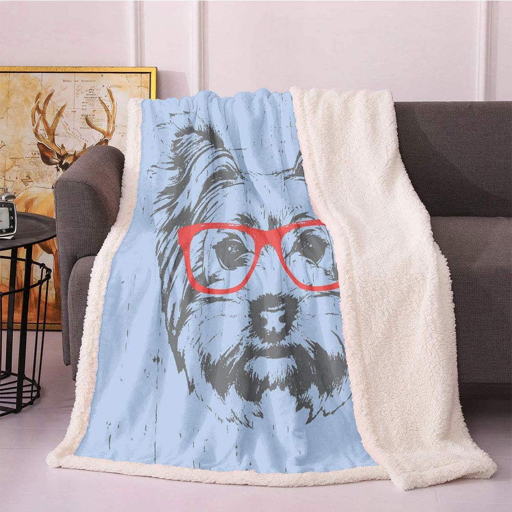 Yorkie Sherpa Fleece Blanket,Yorkshire Terrier Portrait Red Nerd Glasses Tainted Backdrop Animal Digital Printing Blanket,for Sofa Couch Bed Throw Blankets(40in x 50in,Pale Blue Grey Vermilion)