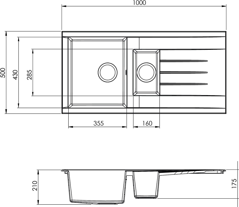 respekta HOUSTON100X50W Fregadero 40/% Resina sint/ética 100 x 50 cm 60/% Material Compuesto de minerales y Fibra de Vidrio Blanco