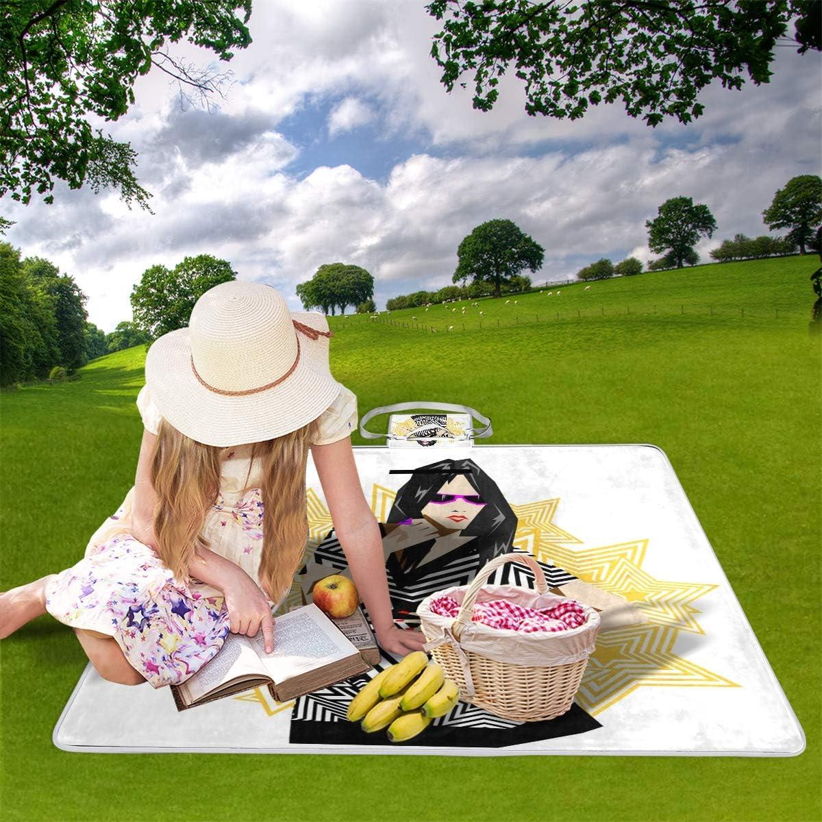GEEVOSUN Coperta da Picnic Tappetino Campeggio,Illustrazione di Moda Bella Giovane Donna Vintage,Giardino Spiaggia Impermeabile Anti Sabbia 19