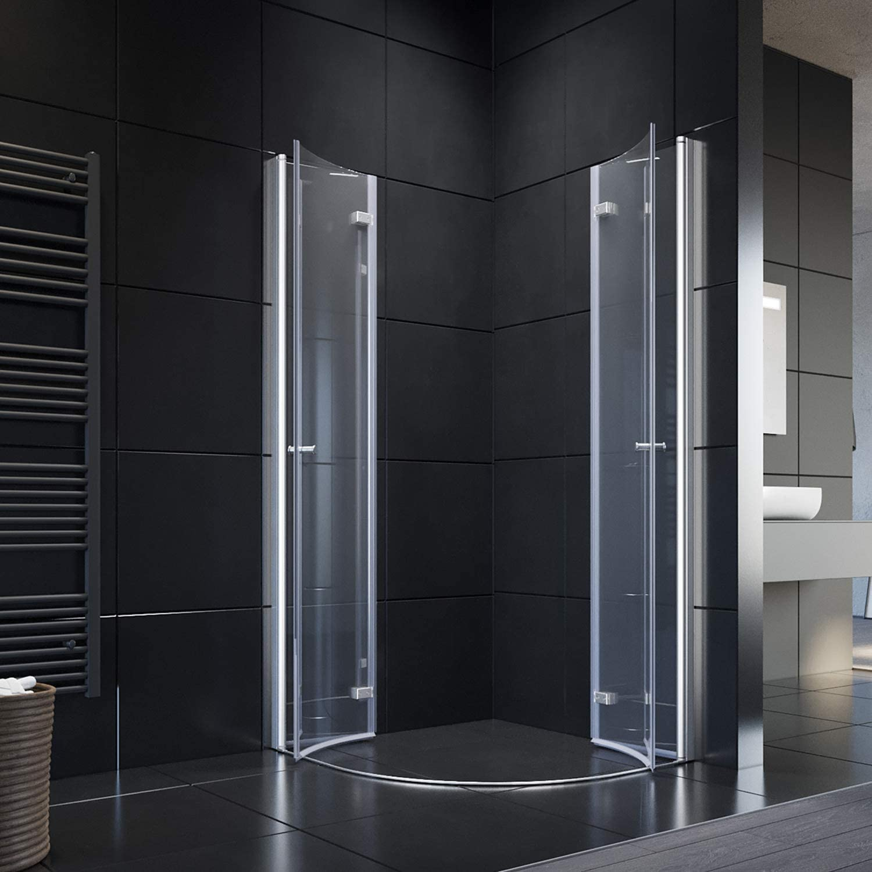Cabina de ducha redonda con puerta plegable 80 x 80 cm Mampara de ...