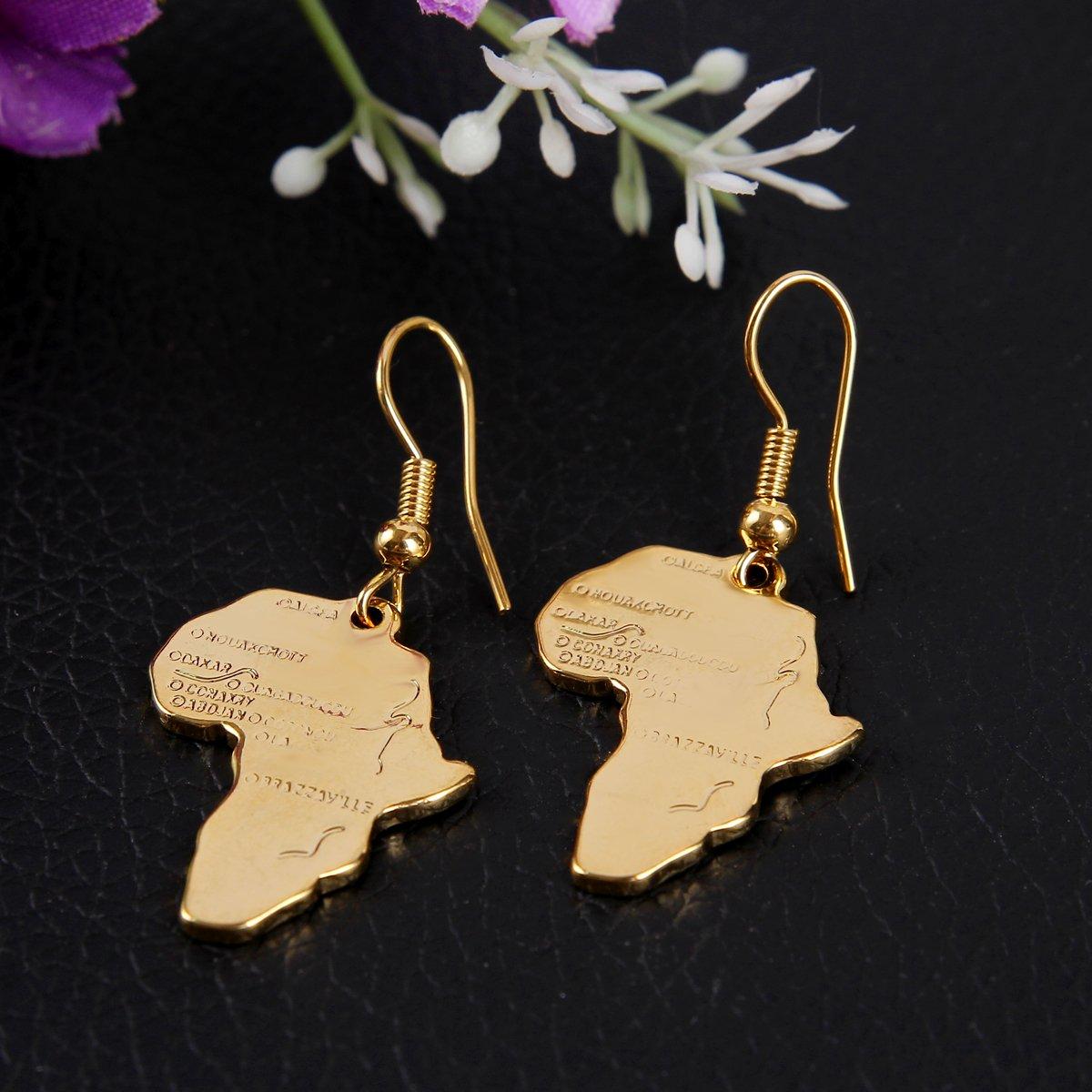 24k Gold Plated Brass Africa Map Dangle Earring