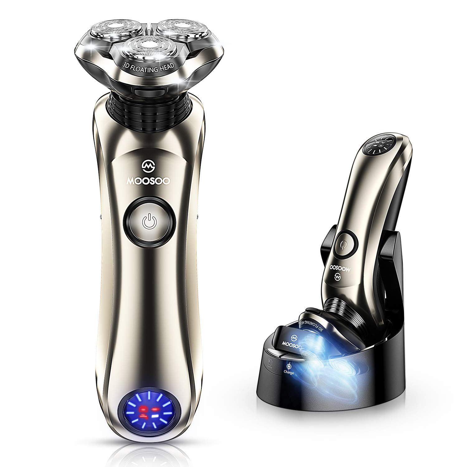 Shaver, MOOSOO Electric Razor with Sterilization Clean Charge Station, Rechargeable Wet/Dry Electric Shaver with Pop-up Trimmer, 100% Waterproof, 5 Mins Fast Charging Technology, LED Display, 100-240V