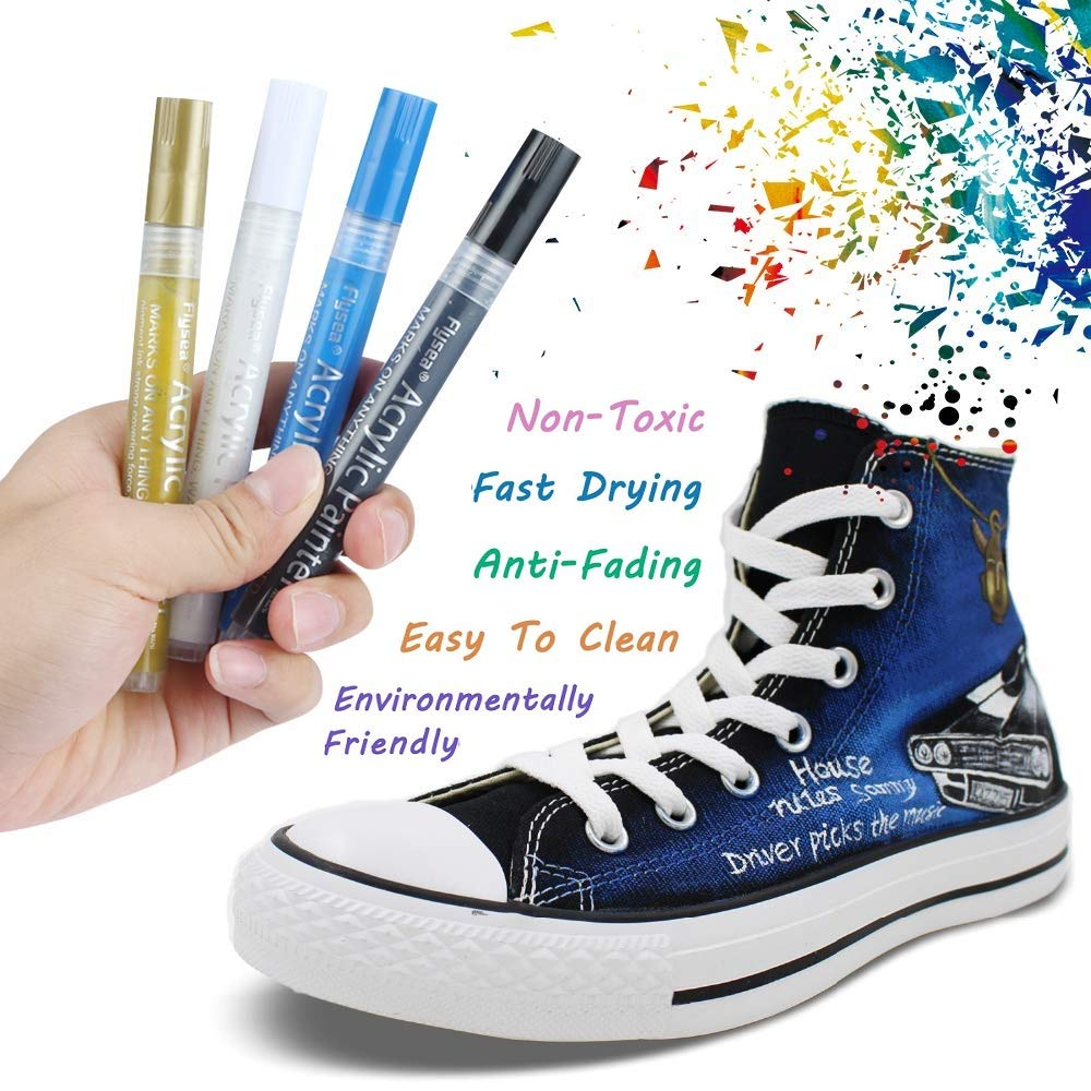 Acrylstifte Marker Stifte, Sunvito Set 12 Farben Acrylfarben Marker auf Wasserfest für Garten, Papier, Malerei, Leinwand, Fotoalbum, Heimwerken, Glas, Keramik, Holz, Metall, DIY