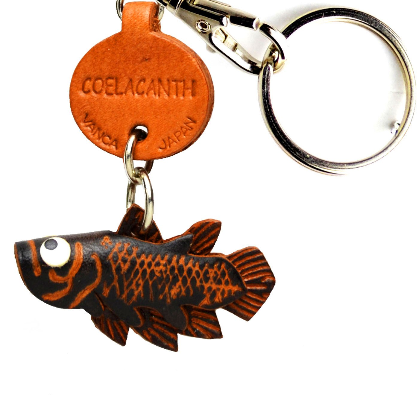 Coelacanthレザー魚/ SeaAnimal SeaAnimal Small B008DPW20K Keychains VANCA Small craft-collectibleキーリング日本製 B008DPW20K, シープウィング:4699f209 --- awardsame.club