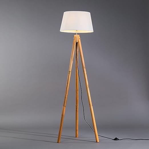 Lámpara de pie tipo trípode, patas de madera y pantalla textil, 1,65 m, rosca E27, máximo 60 W