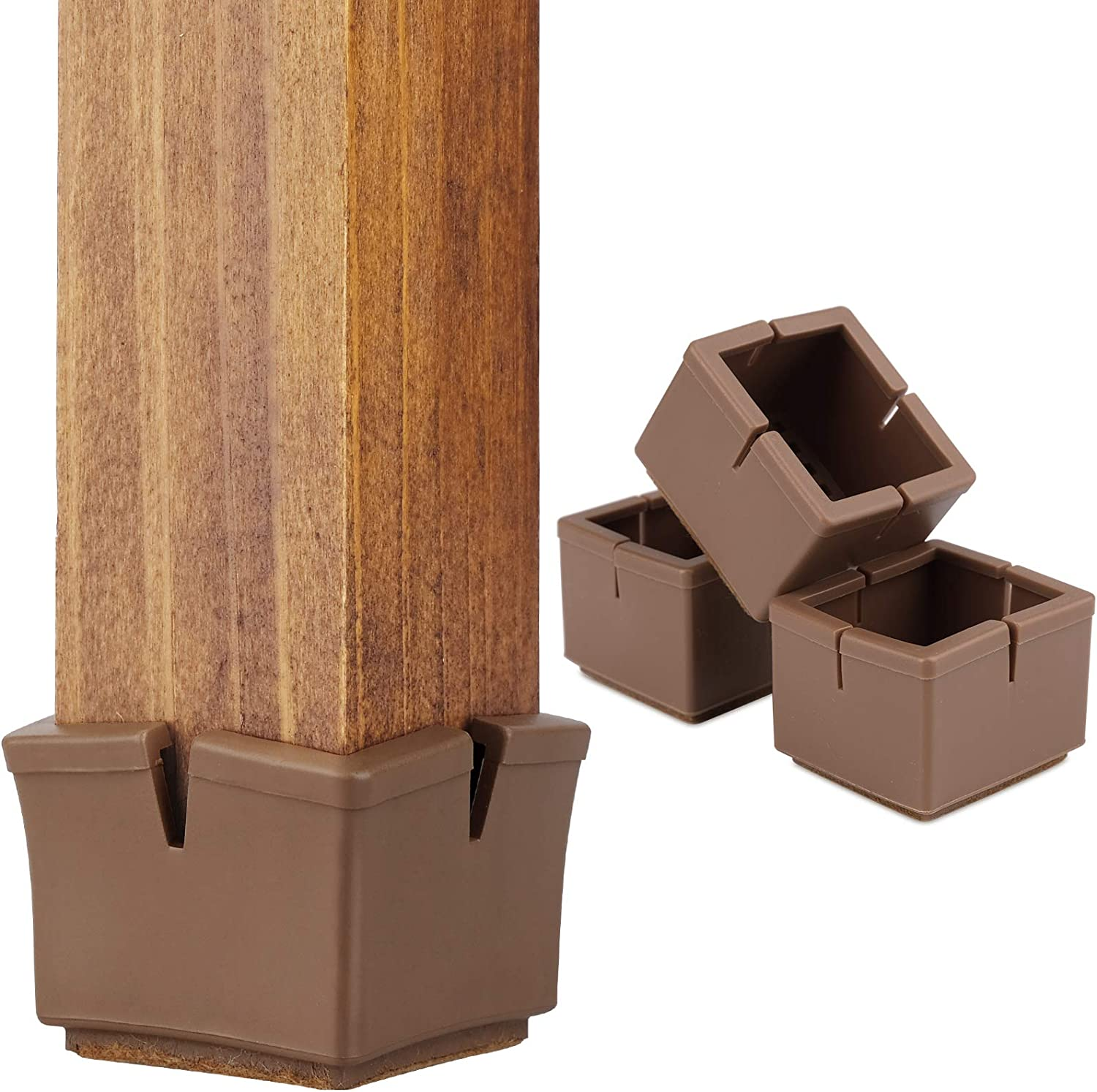 "Chair Leg Floor Protectors 1.5"" Chair Leg Caps 1-1/2 to 1-5/8 Inch Square Furniture Leg Caps Table Chair Feet Protectors with Felt Pads, Color Brown (16 Pack) (Fit 36mm-41mm)"