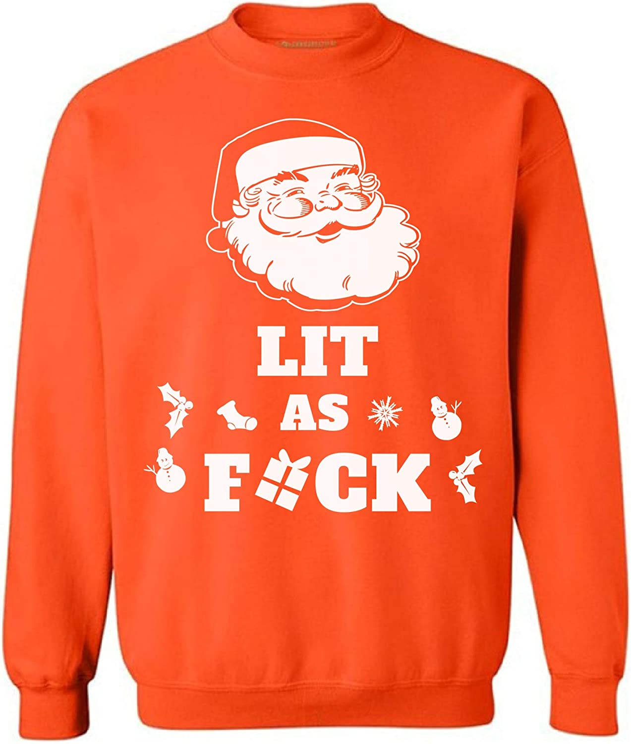 Awkward Styles Lit As Fuck Sweatshirt Funny Santa Gifts Ugly Christmas Sweater