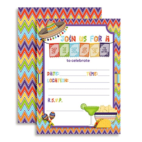Mexican Fiesta Papel Picado Banner Themed Party Invitations For Birthday Celebration Retirement Or Cinco De Mayo 20 5 X7 Fill In Cards With Twenty