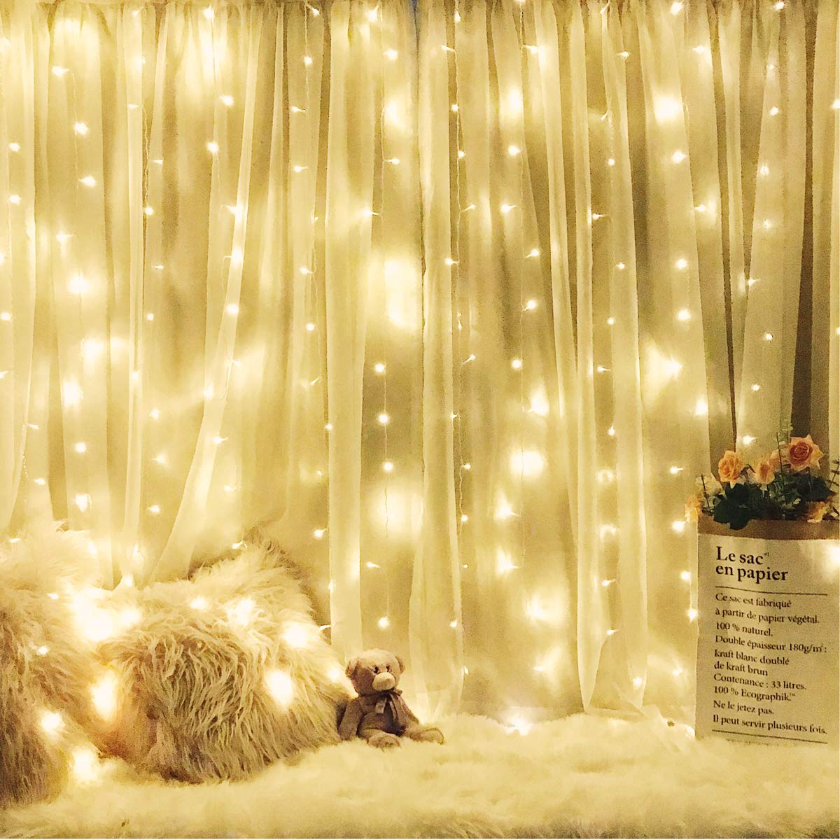 Aimork Window Curtain Lights 304 LED String Lights Extendable with 8 Modes Controller for Holiday, Party, Outdoor Wall, Wedding Decorations(9.8 x 9.8ft, Warm White)