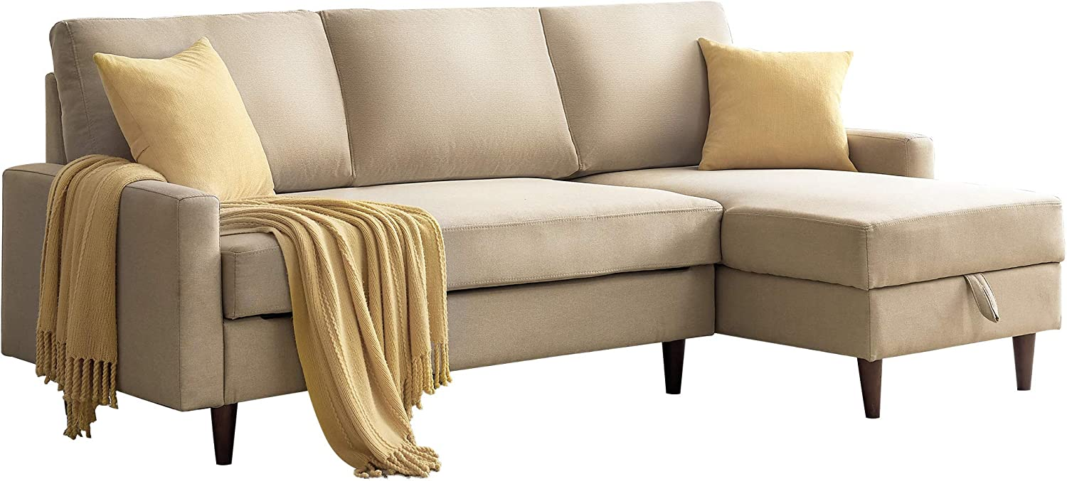 Merax Sleeper Couch, Small Velvet Sofa for Living Room or Bedroom, Including Pull Out Bed Sofabed, Compact, Beige