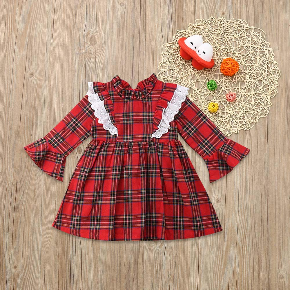 KONFA Toddler Baby Girls Lace Plaid Dress 1-5 Years,Little Princess Long Sleeve Skirt Clothing Set