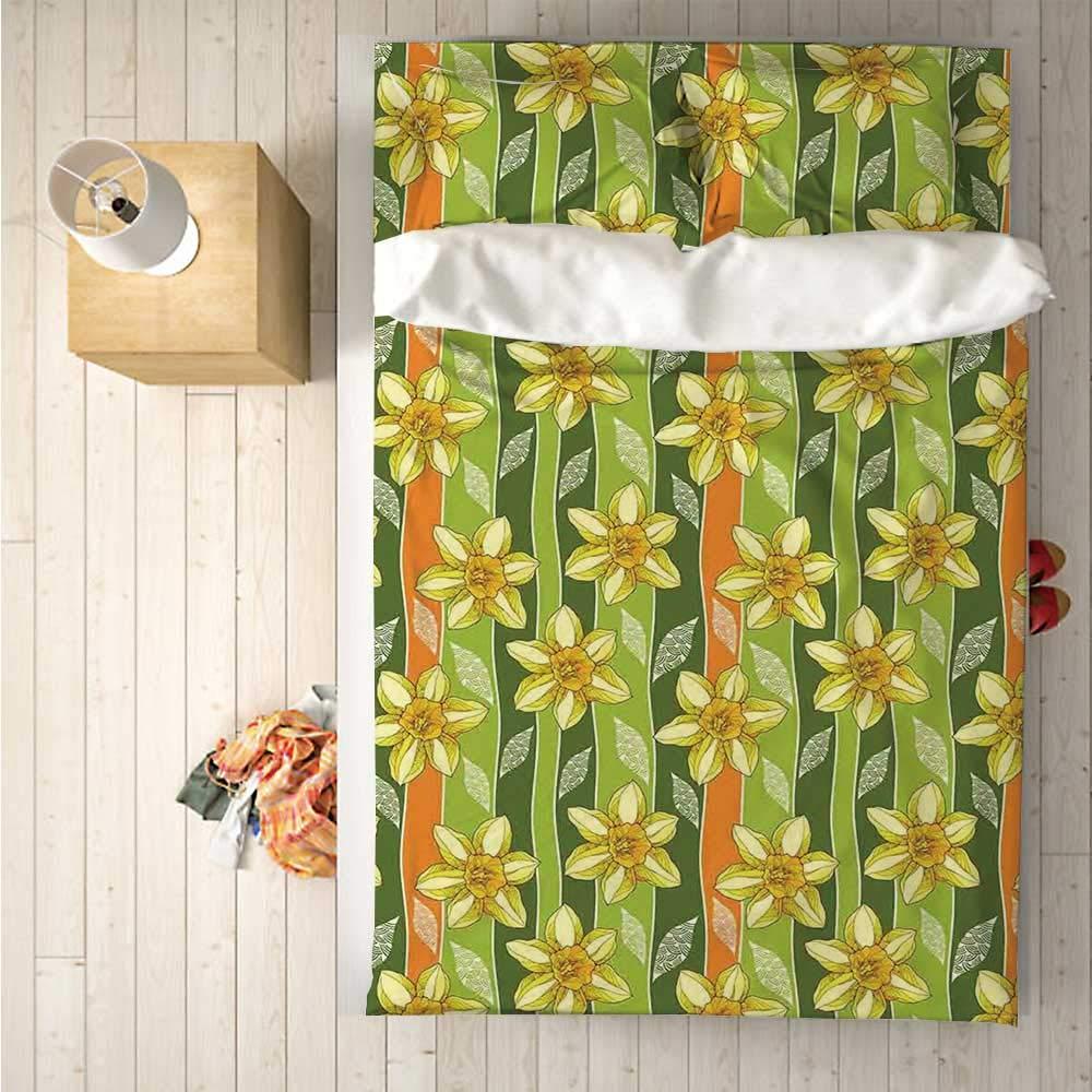 Daffodil Soft 4 Piece Bedding Set,Modern Daffodils Illustration Striped Setting Vitality Inner Focus Herbal Theme for Bedroom,One Side Print : Singe