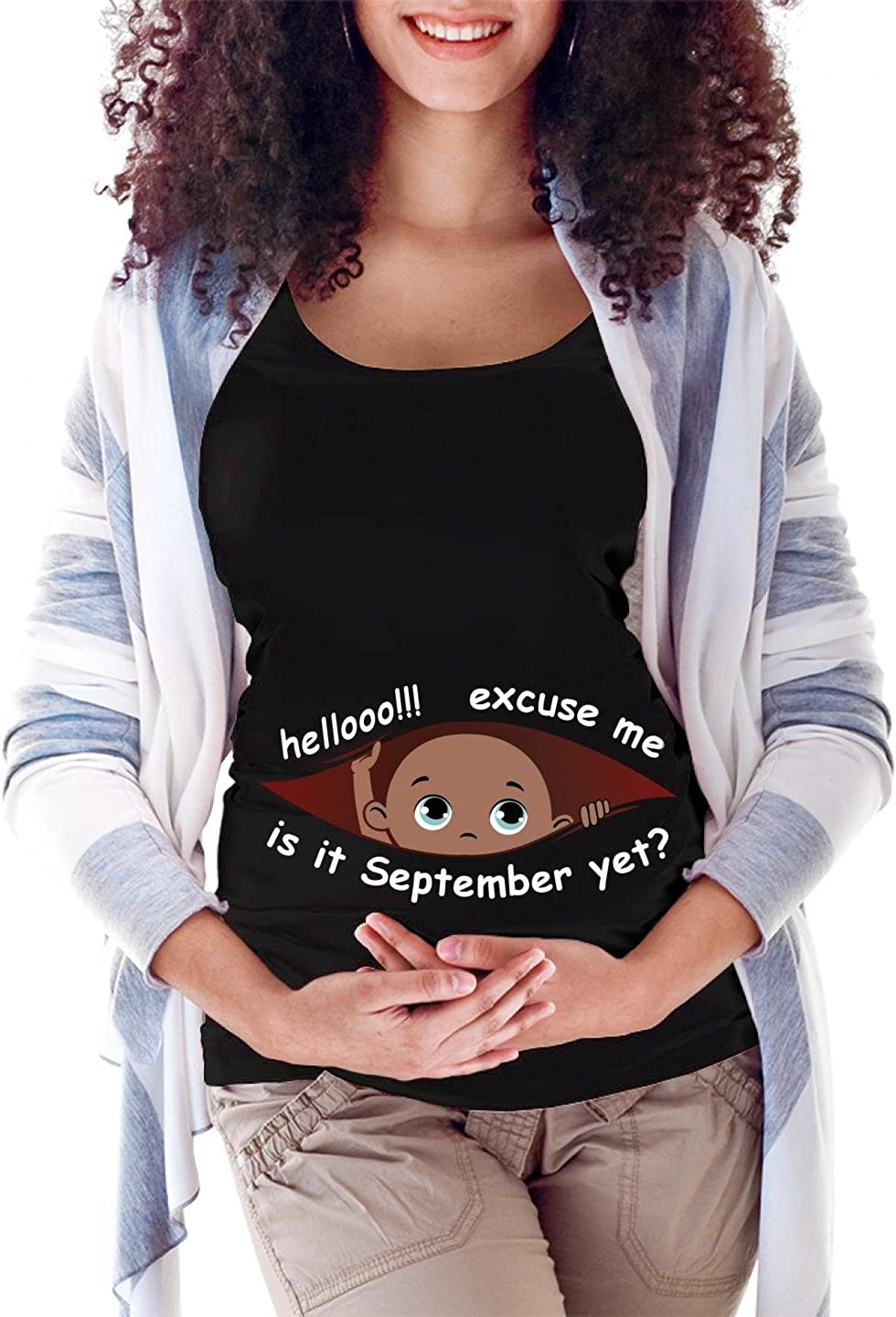 September Peeking Out Baby Girl Maternity Scoop Neck T-shirt Limited Edition