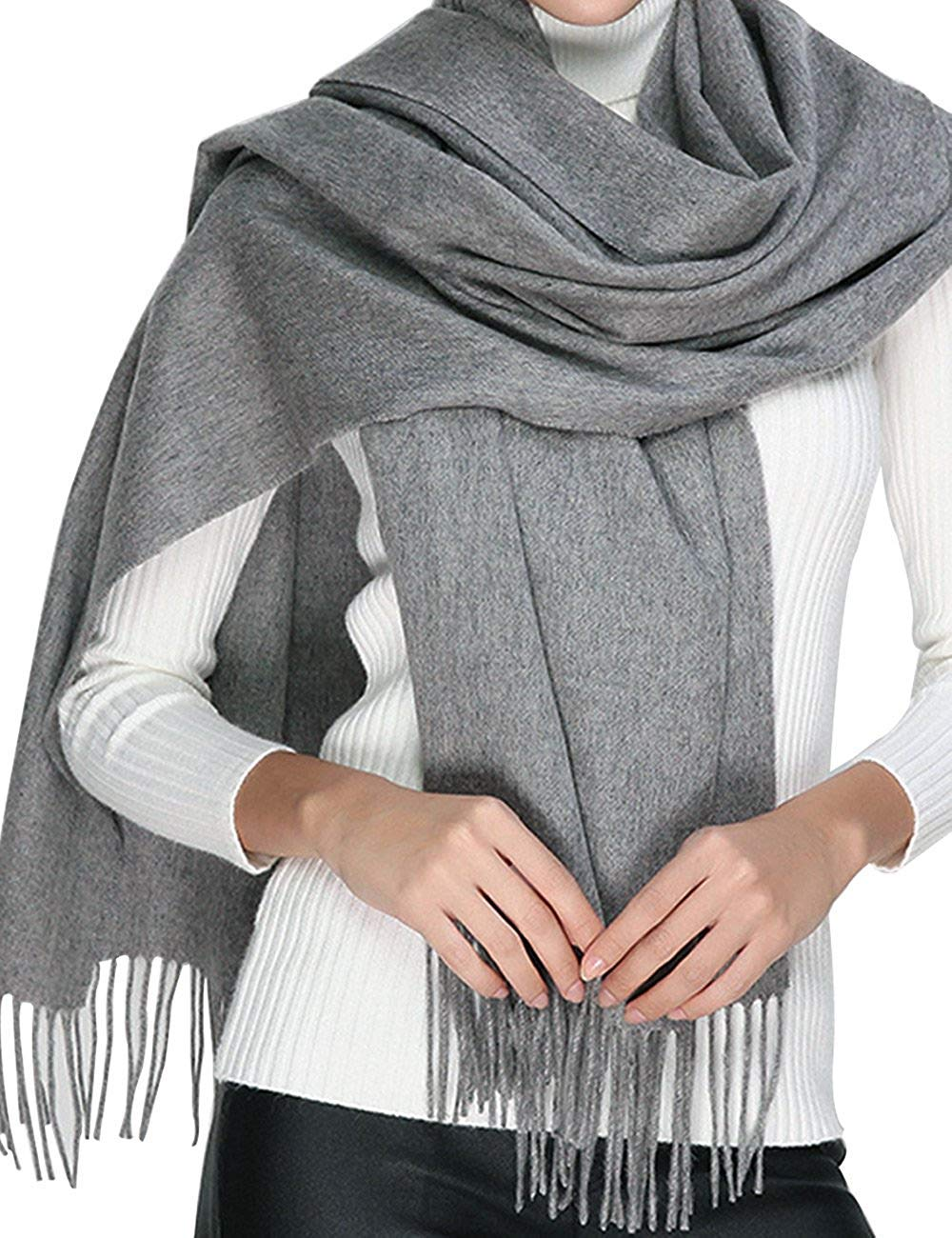 Cashmere Wool Scarf, Large Soft Women Men Scarves Winter Warm Shawl Gift lightsalt