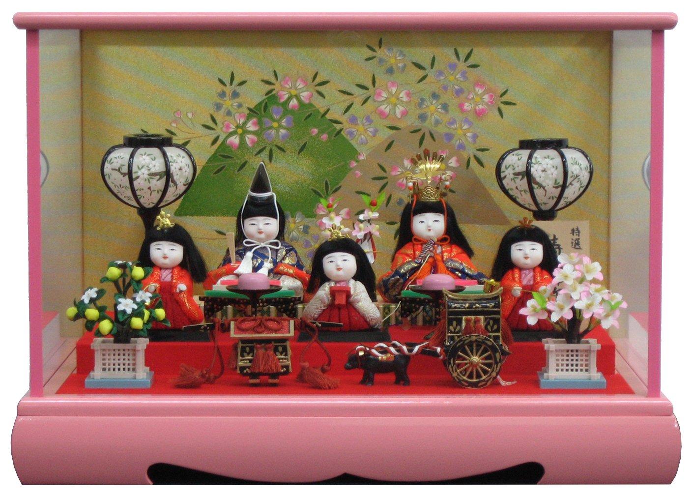 [雛人形 ひな人形 ケース飾り] 間口47cm木目込み人形 遠山桜5人ケース   B01N7Z5N7N