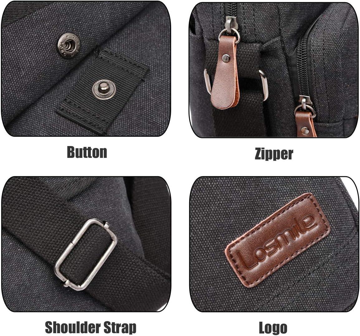 Noir-M LOSMILE Sac bandouli/ère Homme en Toile,Sacs d/épaule Petit Sacoches pour Tablette Tactile avec Plusieurs Compartiments.