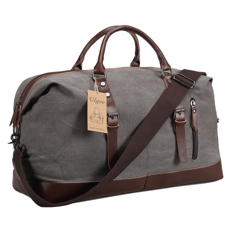 Ulgoo Duffel bag Oversized Canvas Travel Bag PU Leather Weekend Bag Overnight (Grey)