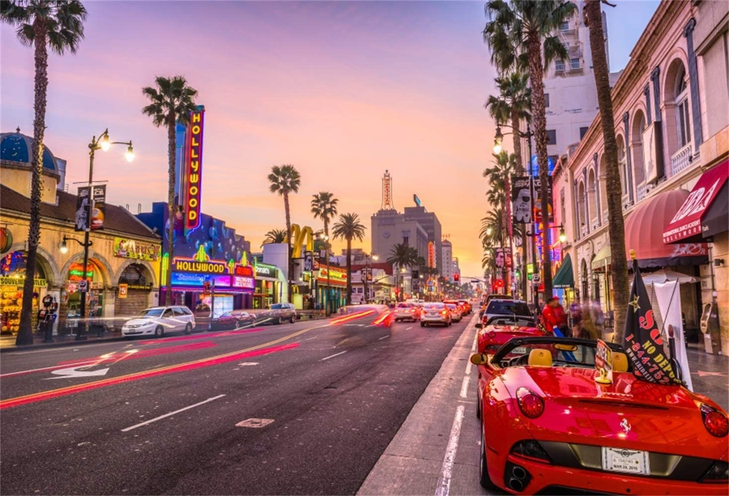 Laeacco 10x7ft Dusk Hollywood Boulevard Background American City Rush Hour Traffic Vinyl Photography Backdrop Red Cars Street Lamp Personal Artistic Photo Film Video Studio Los Angeles Postcard
