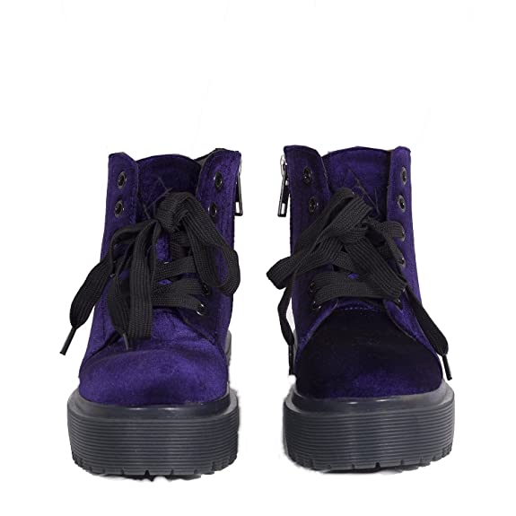 e67b1df1591ad Amazon.com | YRU 'SLAYR' Purple Velvet Rave Boots | Shoes