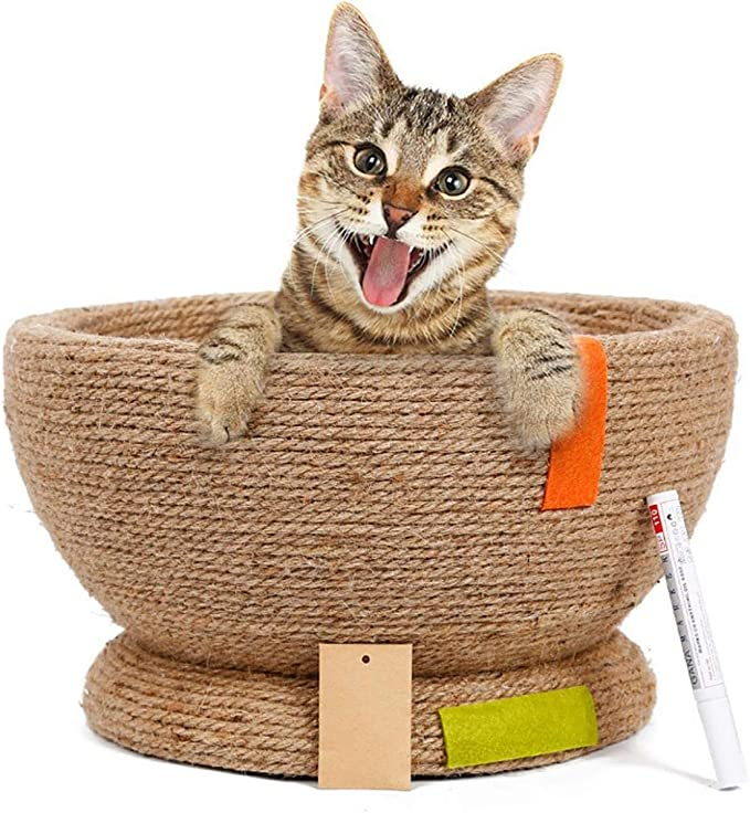 MiOYOOW Cat Scratch Board Bowl Straw Cat Nest Claw Grinder Wear-resisting Cat Toy Cat Supplies Straw Nest Rattan Cat Nest Summer Mat
