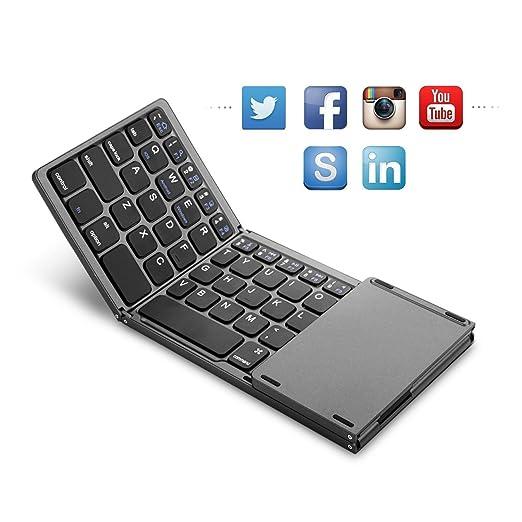 SODIAL Plegable Teclado de Bluetooth, BT portatil Recargable inalambrico Plegable Mini Teclado con Touchpad para Tablet Samsung o los telefonos celulares ...