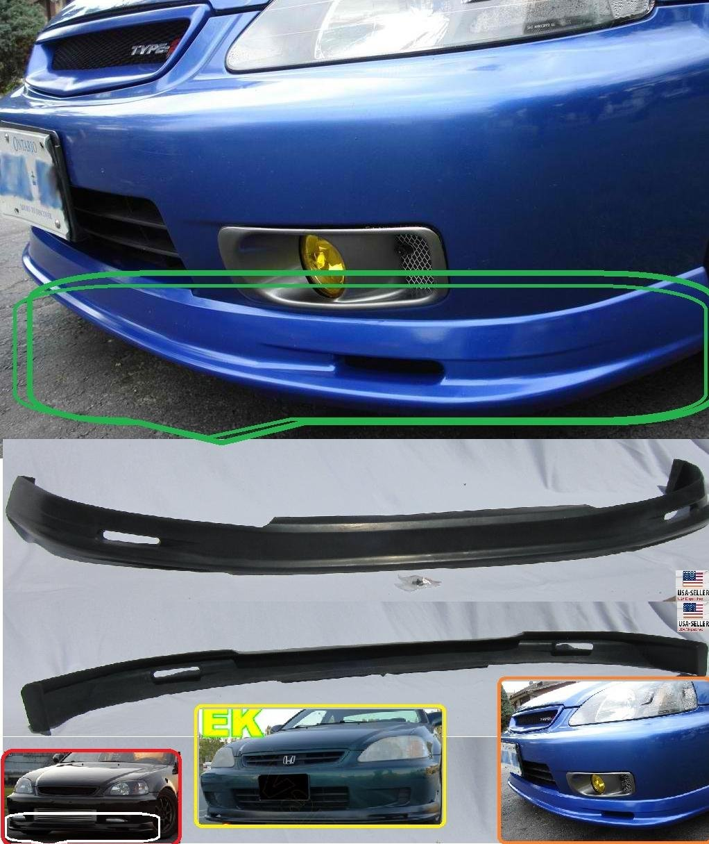 Amazon.com: 1999 2000 Honda Civic Ek JDM MUG Style Pu Front Bumper Lip  2dr/3dr/4dr: Automotive