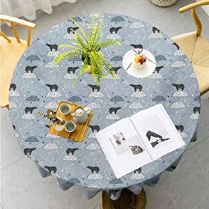 "Jktown Constellation Resistant Table Cover Polar Bear Silhouettes with Stars Doodle Style Illustration Suitable for Indoor Outdoor Round Tables Diameter 70"",Pale Blue Black Bluegrey"