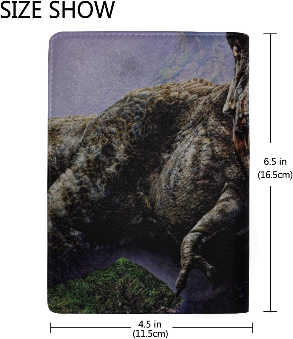Dinosaur Jaws Aggression Stones Trees Leather Passport Holder Cover Case Travel One Pocket
