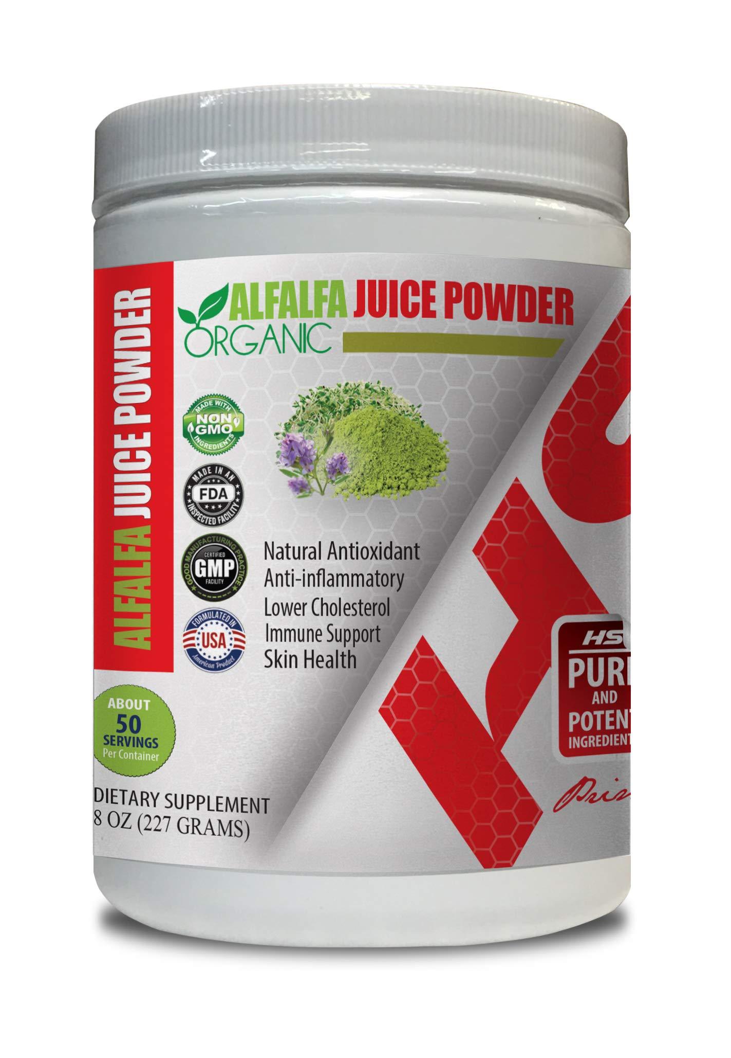 Cholesterol reducing Supplements - Alfalfa Juice Organic Powder - Alfalfa Extract - 1 Can 8 OZ (50 Servings)