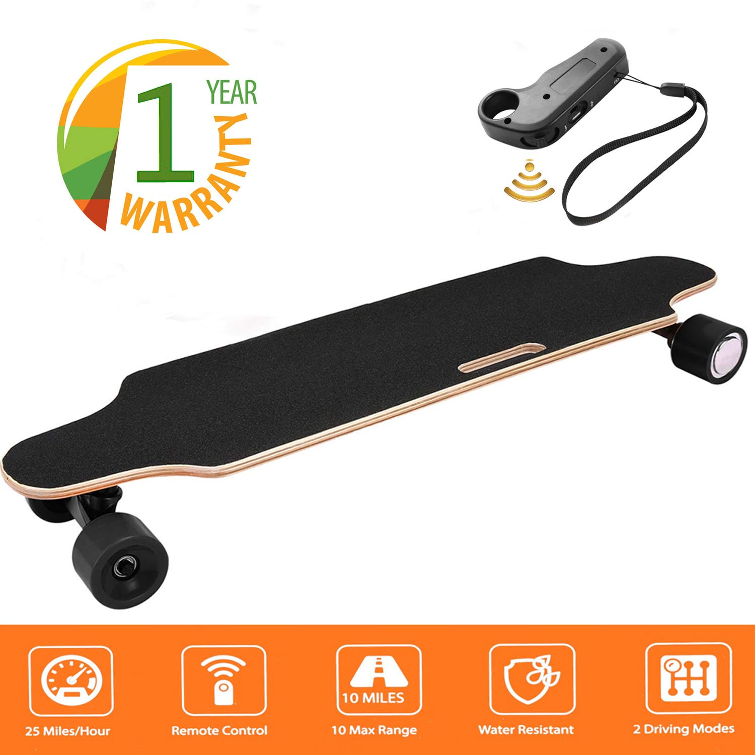 35.4'' Electric Skateboard 10km Range 250W Hub-Motor 2.9'' Wheels Longboard with Remote Controller Waterproof IP54 (Black)