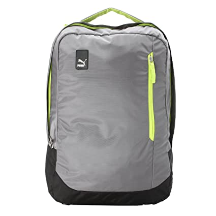 6793f8ea4b Puma Steel Gray and Acid Lime Laptop Backpack (7483404)  Amazon.in  Bags