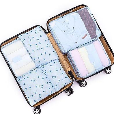 59e4371243 Amazon | アレンジケース トラベルポーチ 6点セット スーツケース 軽量 防水 大容量 旅行 出張 整理用 収納 小分け バッグインバッグ  衣類 (スカイブルー) | YPTECH ...