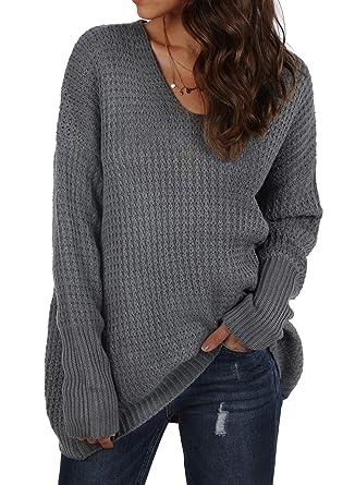 e51a61a24af7 KENANCY Women s Oversized Knit Sweater Loose Pullover V Neck Long ...