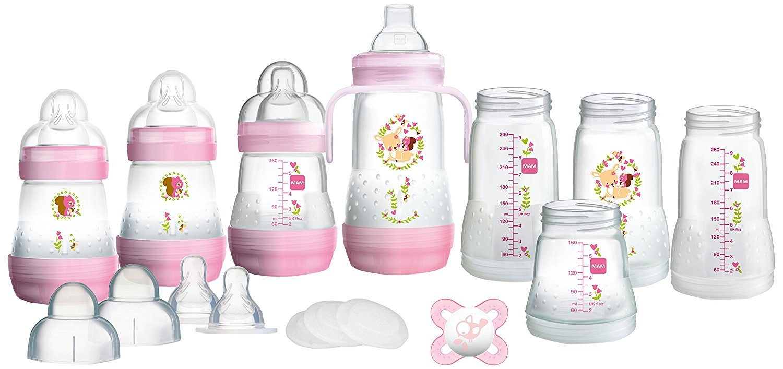MAM Anti-Colic Self Sterilising Bottle Starter Set, Small, Pink, 15Pcs