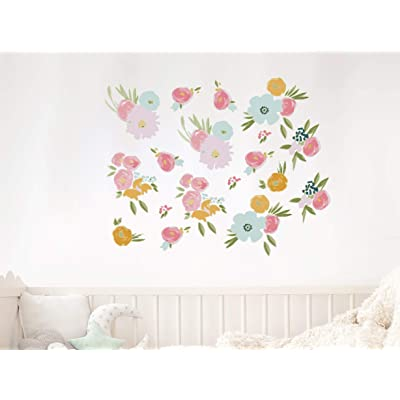 Watercolor Flowers Wall Decal, Floral Fields Nursery Wall Decal, Baby Room Decor, Flower Vinyl Stickers, Master Bedroom Decal Removable Vinyl Wall Stickers: Kitchen & Dining