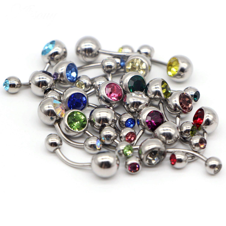 ihuoshang 20 Pcs Rhinestones Pierced Simple Titanium Belly Button Rings Navel Piercing Body