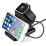 Fitbit Blaze Charger, MixMart 2 in 1 Charging Stand Station for Fitbit Blaze and Universal Smart Phones and Tablets (Black)