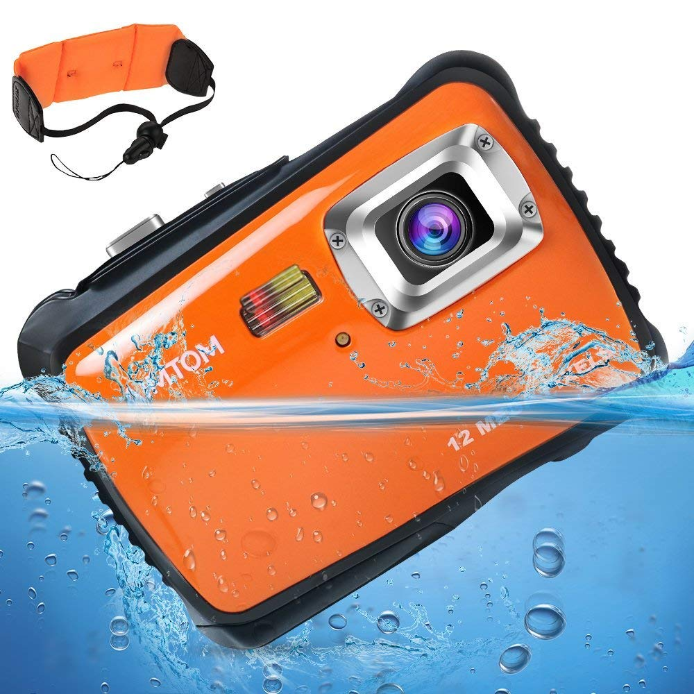 "[Updated 2019 Model] AIMTOM 12MP Orange Kids Underwater Digital Waterproof Camera, Boys Girls Action Camcorder, 2"" LCD Screen Children Birthday Learn Sports Cam Floating Wrist Strap Included"