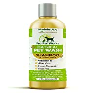 Pro Pet Works All Natural Oatmeal Dog Shampoo + Conditioner for Dogs, Cats and Small Animals-Hypoallergenic and Soap Free Blend with Aloe for Allergies & Sensitive Skin- 17oz