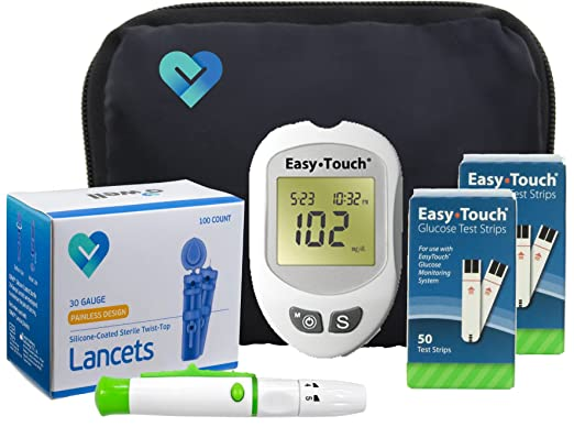 Easy Touch Diabetes Testing Kit, 100 Count | Easy Touch Meter, 100 Easy Touch Blood Glucose Test Strips, 100 Lancets, Easy Touch Lancing Device, Owner's Manual, Log Book & Carry Case