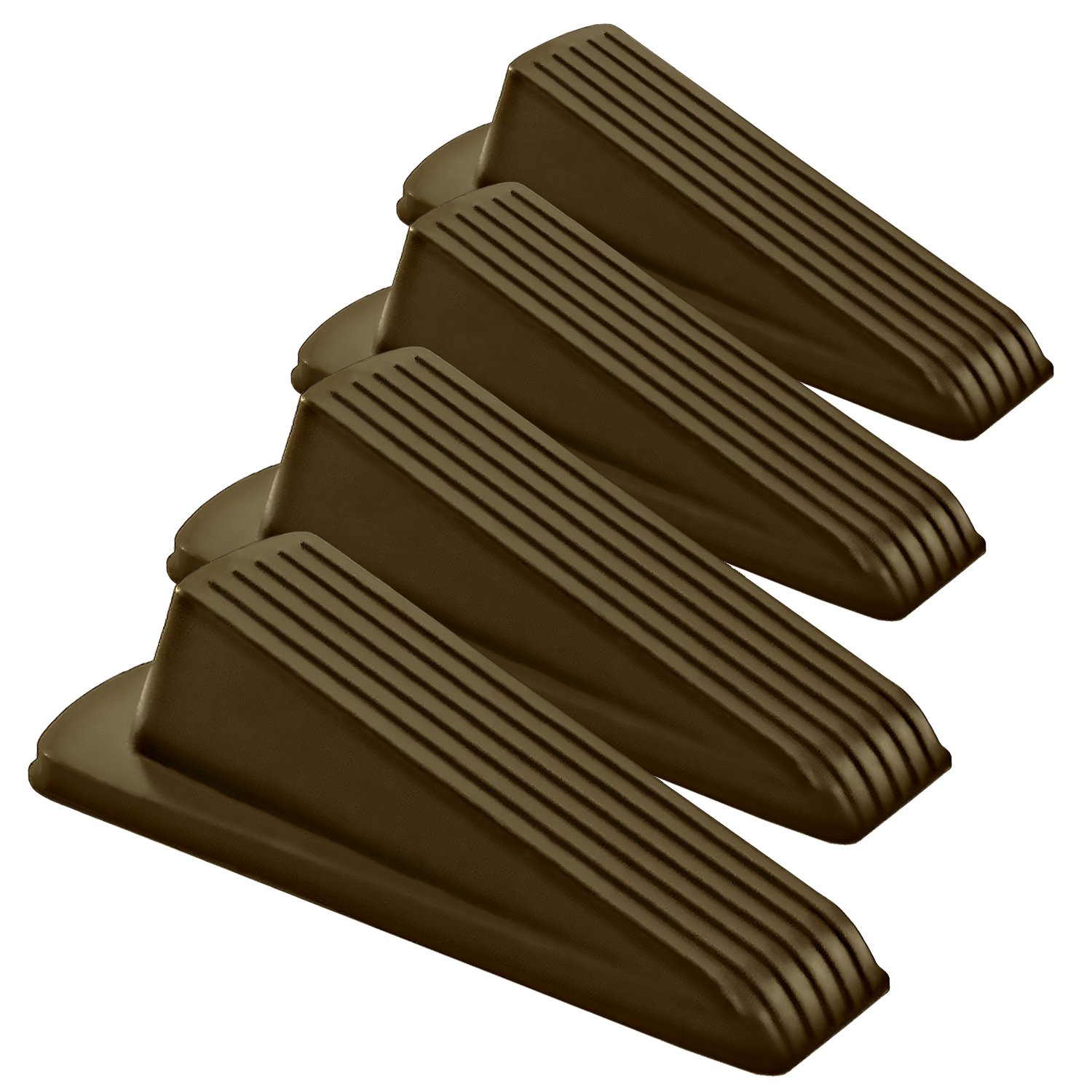 Home Premium Rubber Door Stopper - Multi Surface Door Stop Wedge with Heavy Duty Design - Flexible and Non Scratching Door Holder (50 Pack, Brown) by HOME PREMIUM