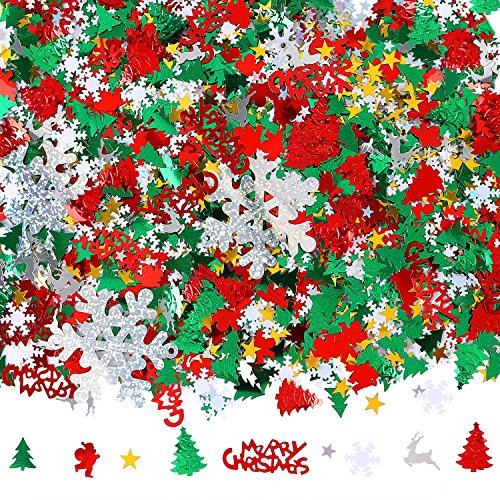 Aneco 100g/4800 Pieces Christmas Confetti Pentagram, Snowflake, Santa, Pine, Merry Christmas Alphabet, Elk Table Confetti Bright Christmas Decoration Set (Christmas Confetti)