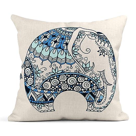 Kinhevao Cojín Marrón Animal Azul Tatuaje Doodle Decorado Elefante ...