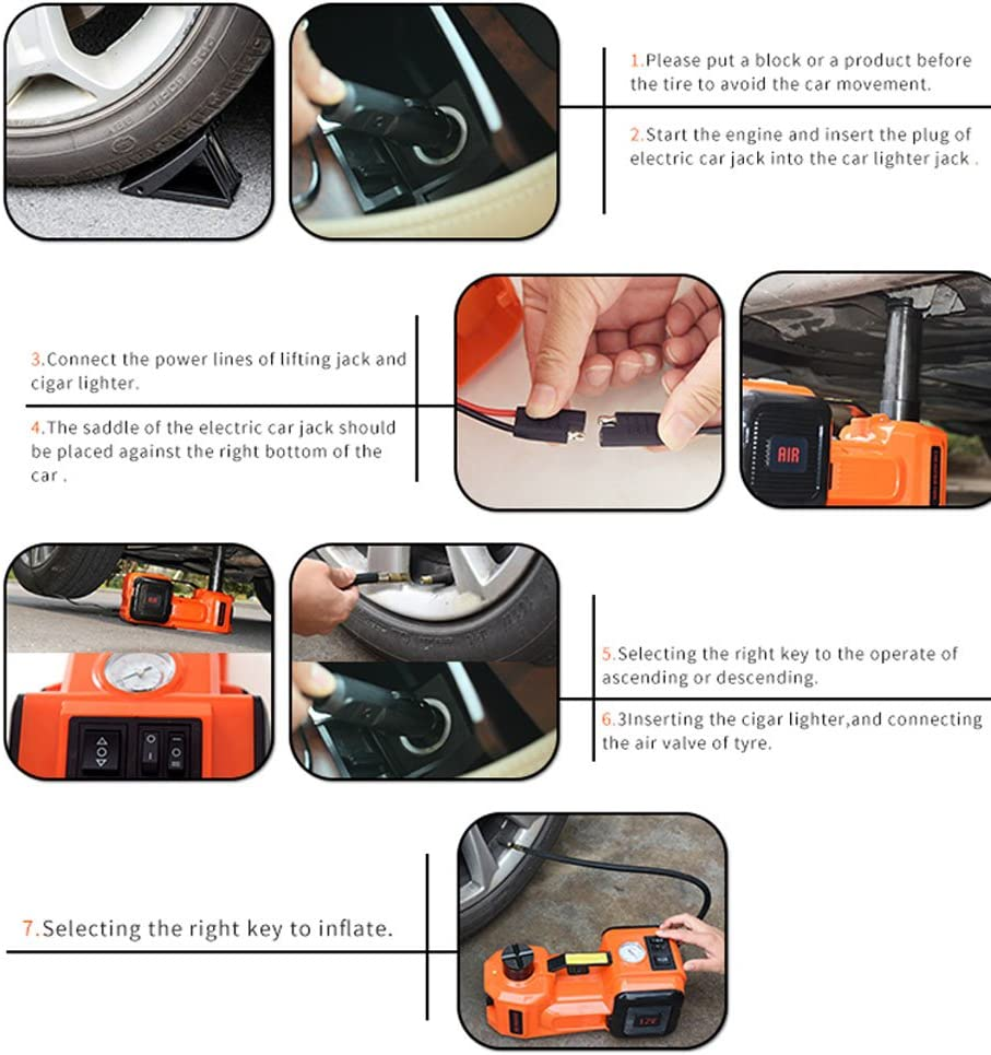 Gogolo 5t Elektrische Hydraulische Dc12v Kfz Wagenheber Rangierwagenheber Kit Einschließlich Notfall Reifenfüller Pumpe Für Auto Suv 155 450mm Auto