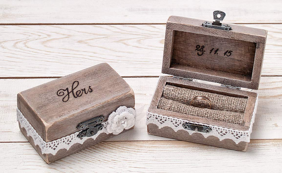 Mr and Mrs glass top ring box wedding holder rustic pillow ceremony ring bearer box His and Hers rings box Groom and Bride box with burlap