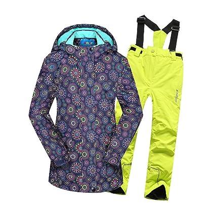 Antivento 2 Pezzi Impermeabile Colore : Nero, Dimensione : 128 Giacca da Sci con Cappuccio da Snowsuit Tute da Sci morbide per Ragazza Caldo con Pantaloni