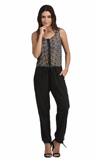 The Gud Look Polyester Black Diamond Print Jumpsuit - Black at amazon
