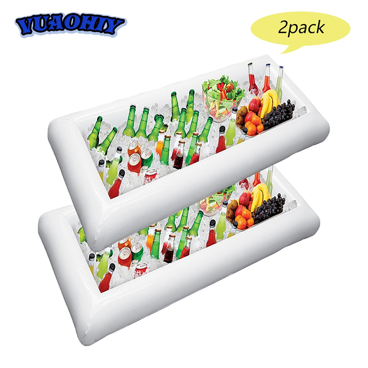 Inflatable Serving Salad Bar Tray Food Drink Containers Holder for BBQ Picnic Pool Party Buffet Luau Cooler with drain plug (2 pack)