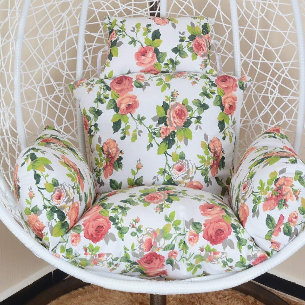MonthYue Hanging Basket Chair Cushion, Weave Egg Seat Pads Back Chair Cushion Detachable Without Stand Thick Round Rocking Chairs Cushions,A by MonthYue