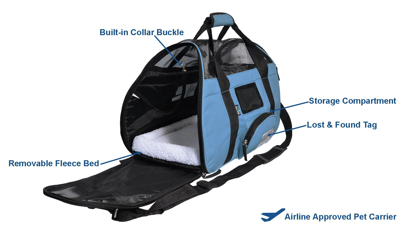 KritterWorld Soft Sided Pet Travel Carrier for Small Dogs and Cats Puppy Small Animals Airline Approved | Removable Sherpa Lining Bed, Built-in Collar Buckle, Lost & Found Tag Included by Black by KritterWorld (Image #3)